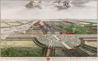 Colored engraving of Hampton Court